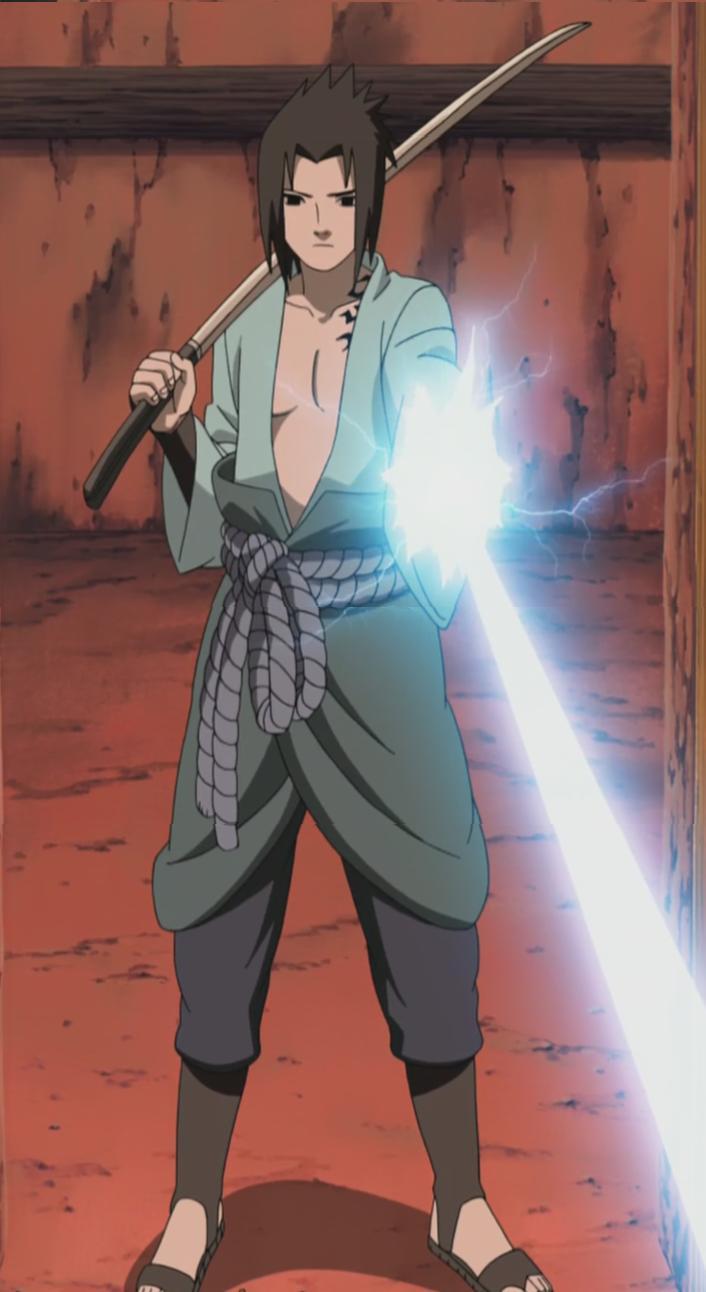 Sasuke formt ein Schwert aus elektrischer Energie