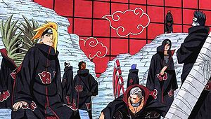 Die derzeitigen Akatsuki-Mitglieder im Anime. V.l.n.R. Kakuzu Hidan Kisame Itachi Pain Konan Sasori Deidara Zetsu