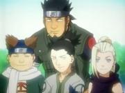 Asuma (vorne), Choji, Shikamaru und Ino (v.l.n.r.)